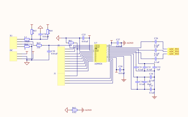 AD9826和AD9822芯片及光电检测PD的驱动板电路图和PCB资料免费下载