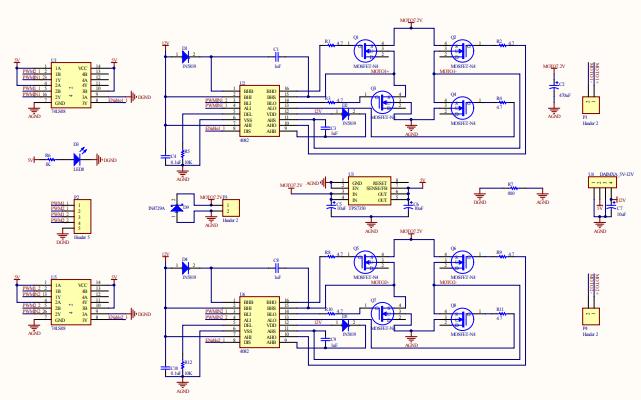 雙電機驅動4NMOS電路原理圖免費下載