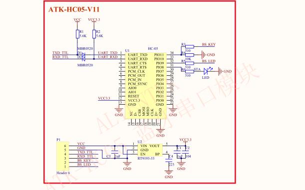 ATK-HC05蓝牙串口模块的电路原理图和封装库资料免费下载