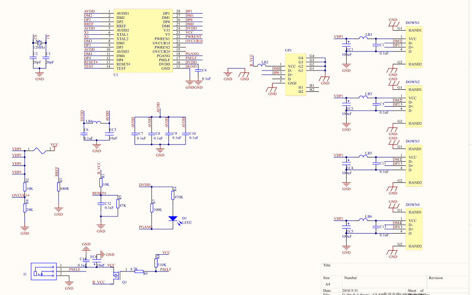 基于GL850的集成电路USB HUB设计电路图及PCB64222葡京的网址合集免费下载