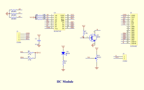 IIC模块的Arduino测试程序PCF8574数据手册原理图和使用说明免费下载
