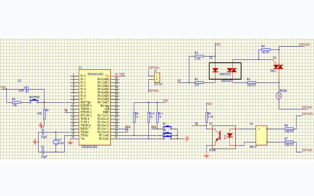 51单片机控制光耦和可控硅调节亮度的程序及过零检测触发电路图
