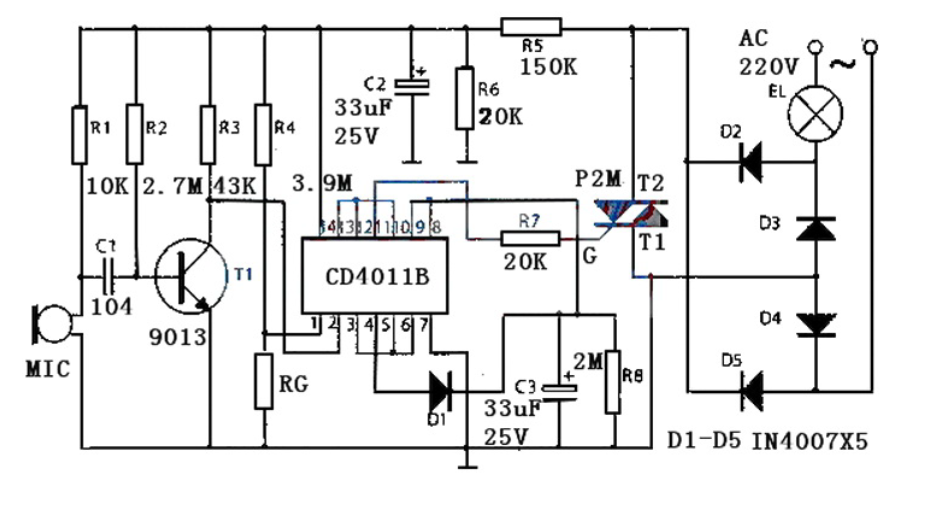 聲光控開關電路及線路板圖