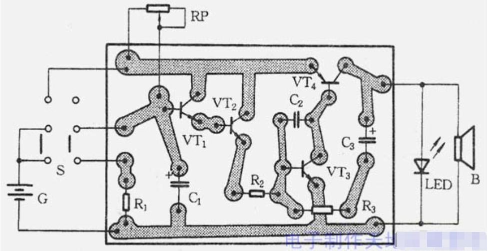 简易电子闹钟电路付线路板图