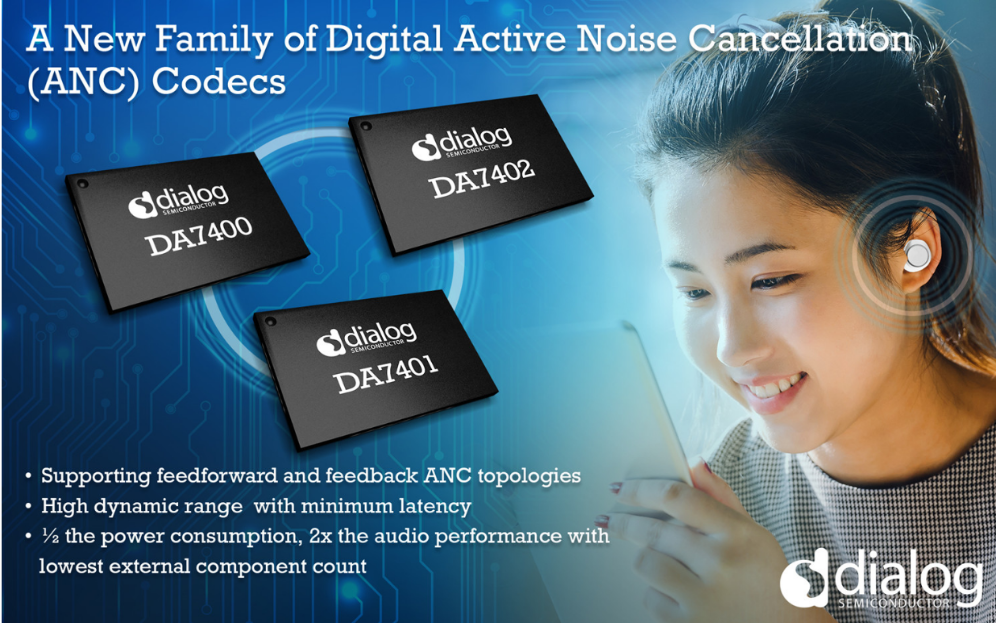 Dialog半导体推业内最佳主动降噪音频编解码器芯片DA740x