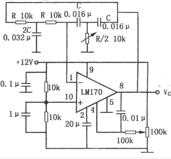 输出稳定的双T正弦波振荡器电路图