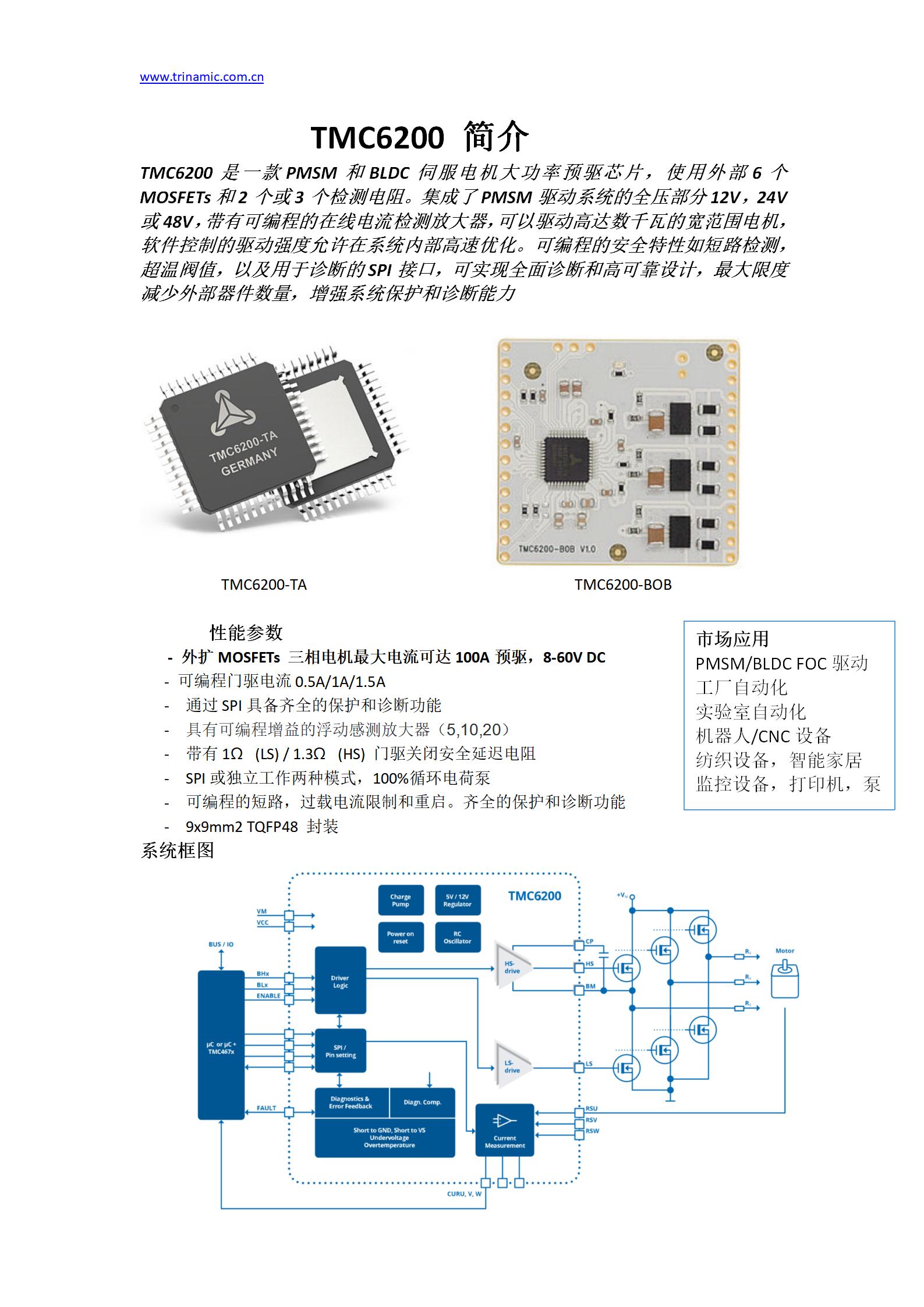 TRINAMIC推出PMSM BLDC三相智能预驱芯片TMC6200