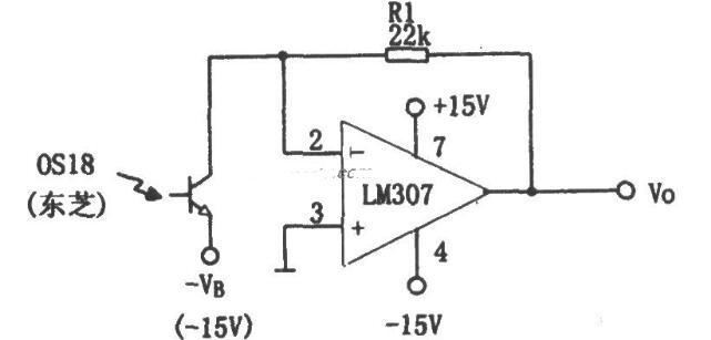 采用LM307构成的光电接收放大电路