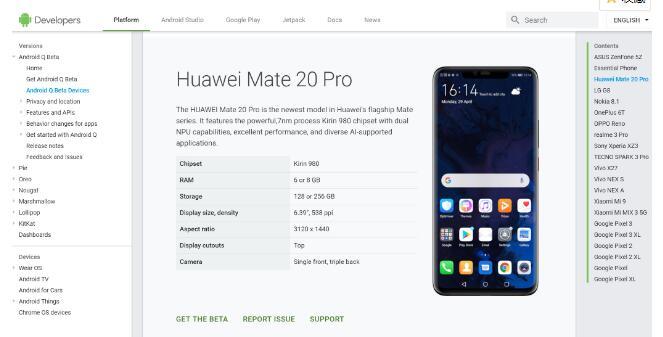 谷歌发布的下一代安卓Q版本系统将在Mate 20...