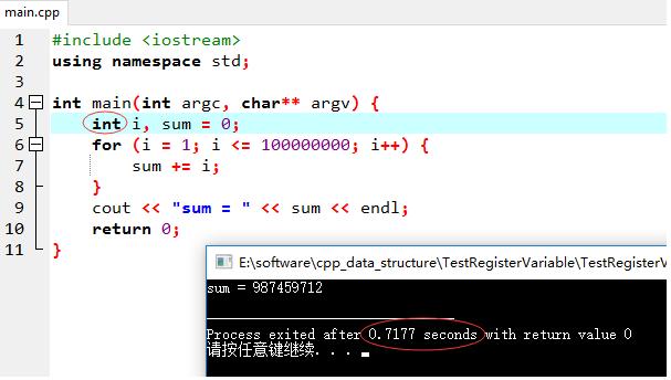 普通变量与寄存器变量速度对比