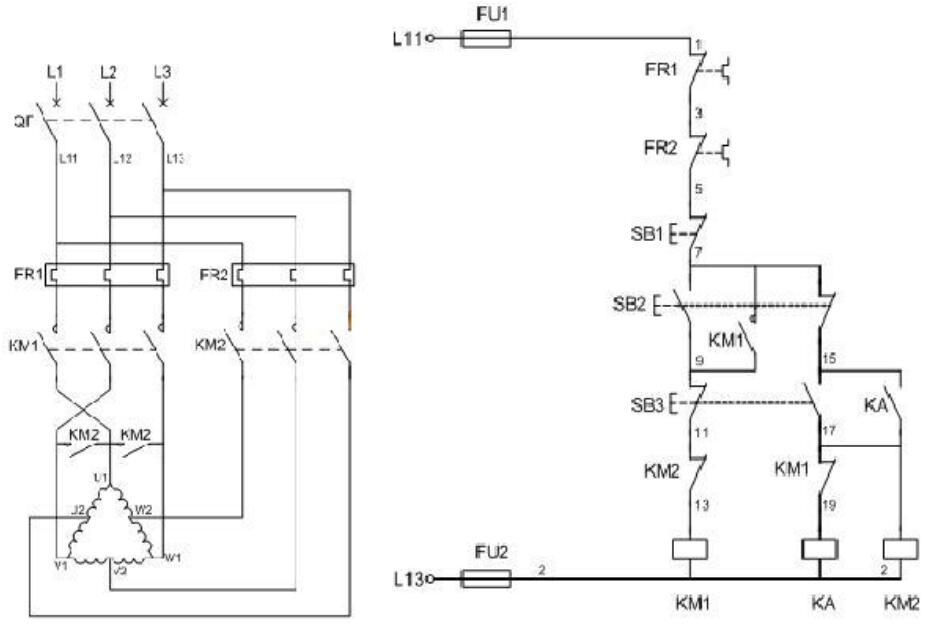 双速电动机实物接线图