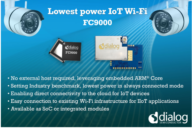 Dialog半導體公司推出最新超低功耗Wi-Fi SoC,加速IoT部署