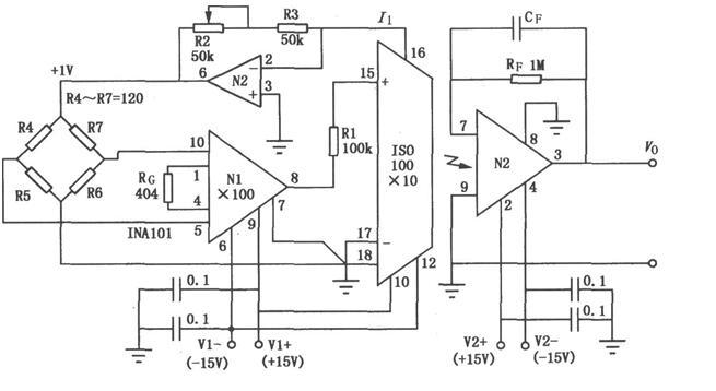 由ISO100构成的精密电桥隔离放大电路