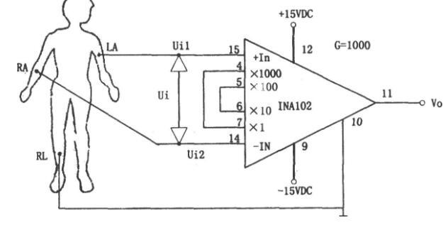 采用INA102构成人体生物电信号前置放大电路
