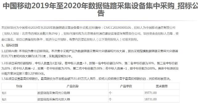 中国移动正式发布2019-2020年数据链路采集设备集采招标公告