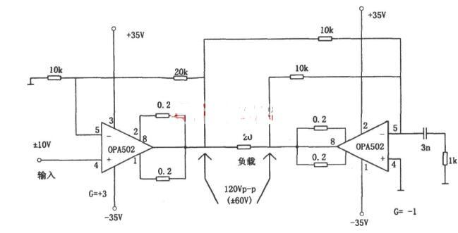 用OPA502構成的橋氏驅動電路圖分享