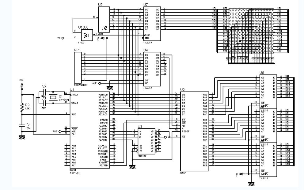 使用C51单片机进行16X16LED滚动显示实验的电路图和程序及工程文件