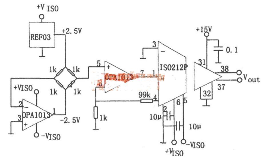 单电源高精度双运OPA1013的隔离放大器电路图