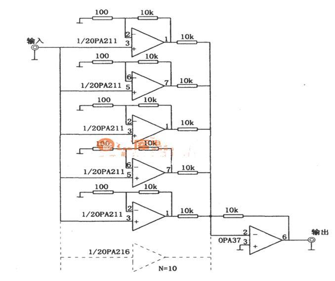 采用OPA37的多级并联改善信噪比放大电路