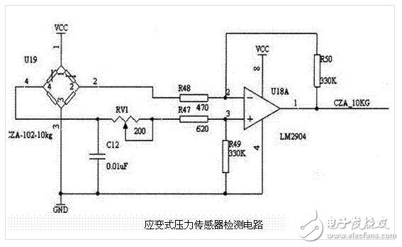 多款压力传感器的简单应用电路图