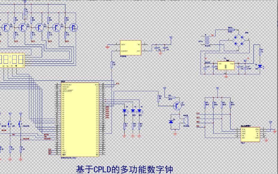 基于CPLD的多功能数字时钟的电路原理图免费下载