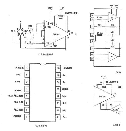 采用INA102组成的电阻电桥放大电路