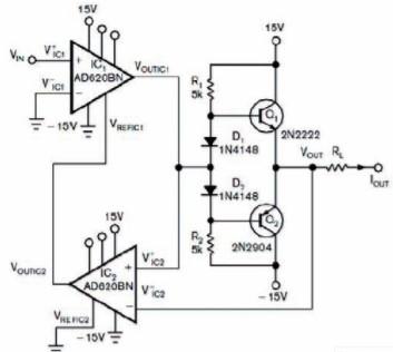 采用两个仪表放大器和晶体管实现高精度压控电流源的设计