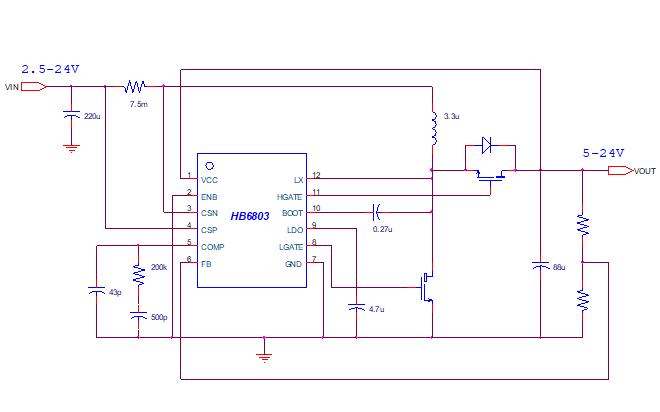 HB6803高压低功耗同步升压控制芯片的数据手册免费下载