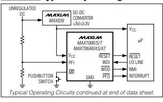 MAX706X和MAX706AX及MAX708X系列微处理器的数据手册免费下载