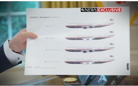 特朗普宣称将要打造出两架基于波音747-8型客机改造的空军一号