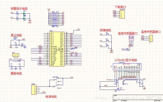 使用51单片机设计温湿度监控系统的电路图和源代码免费下载