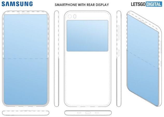 三星手机新专利曝光将可能用上背面副显示屏的设计