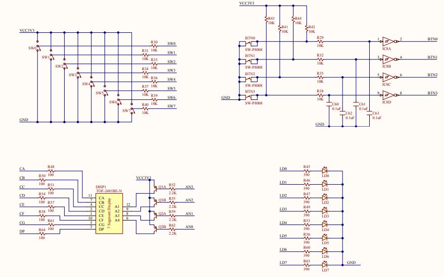 Basys2 FPGA开发板主板的地方电路原理图免费下载