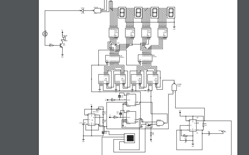 使用Multisim制作的简易数字频率计电路图免费下载