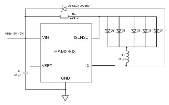 PAM2863带内部开关的2A LED驱动器数据手册免费下载