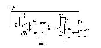 短路保护电路原理    1、在输出端短路的情况下,PWM控制电路能够把输出电流限制在一个安全范围内,它可以用多种方法来实现限流电路,当功率限流在短路时不起作用时,只有另增设一部分电路。    2、短路保护电路通常有两种,下图是小功率短路保护电路,其原理简述如下:    1    当输出电路短路,输出电压消失,光耦OT1不导通,UC3842①脚电压上升至5V左右,R1与R2的分压超过TL431基准,使之导通,UC3842⑦脚VCC电位被拉低,IC停止工作。UC3842停止工作后①脚电位消失,TL431不导通UC3842⑦脚电位上升,UC3842重新启动,周而复始。当短路现象消失后,电路可以自动恢复成正常工作状态。    3、下图是中功率短路保护电路,其原理简述如下:    2    当输出短路,UC3842①脚电压上升,U1③脚电位高于②脚时,比较器翻转①脚输出高电位,给C1充电,当C1两端电压超过⑤脚基准电压时U1⑦脚输出低电位,UC3842①脚低于1V,UCC3842停止工作,输出电压为0V,周而复始,当短路消失后电路正常工作。R2、C1是充放电时间常数,阻值不对时短路保护不起作用。    4、下图是常见的限流、短路保护电路。其工作原理简述如下:    3    当输出电路短路或过流,变压器原边电流增大,R3两端电压降增大,③脚电压升高,UC3842⑥脚输出占空比逐渐增大,③脚电压超过1V时,UC3842关闭无输出。    5、下图是用电流互感器取样电流的保护电路,有着功耗小,但成本高和电路较为复杂,其工作原理简述如下:    4    输出电路短路或电流过大,TR1次级线圈感应的电压就越高,当UC3842③脚超过1伏,UC3842停止工作,周而复始,当短路或过载消失,电路自行恢复。