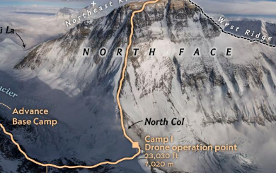 国家地理杂志使用大疆无人机首次拍摄珠峰全景照片
