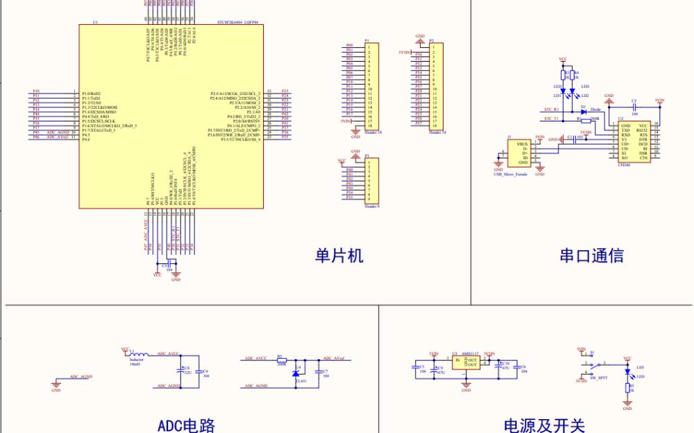 STC8A8K64S4A12迷你开发板电路原理图免费下载