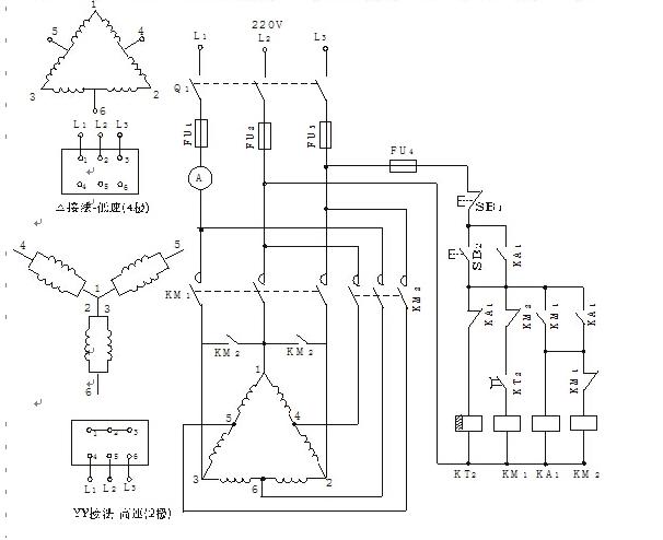 时间继电器控制双速电动机自动加速控制电路