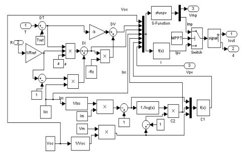 使用Matlab仿真环境开发融合MPPT功能的光伏阵列通用仿真模型