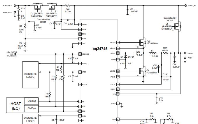 BQ24745同步電池充電器的數據手冊免費下載