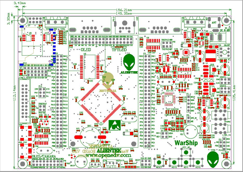WARSHIP V2.0开发板尺寸原理图免费下载