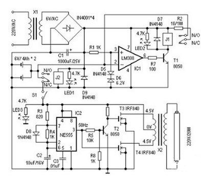 应急灯电路的工作原理是什么?
