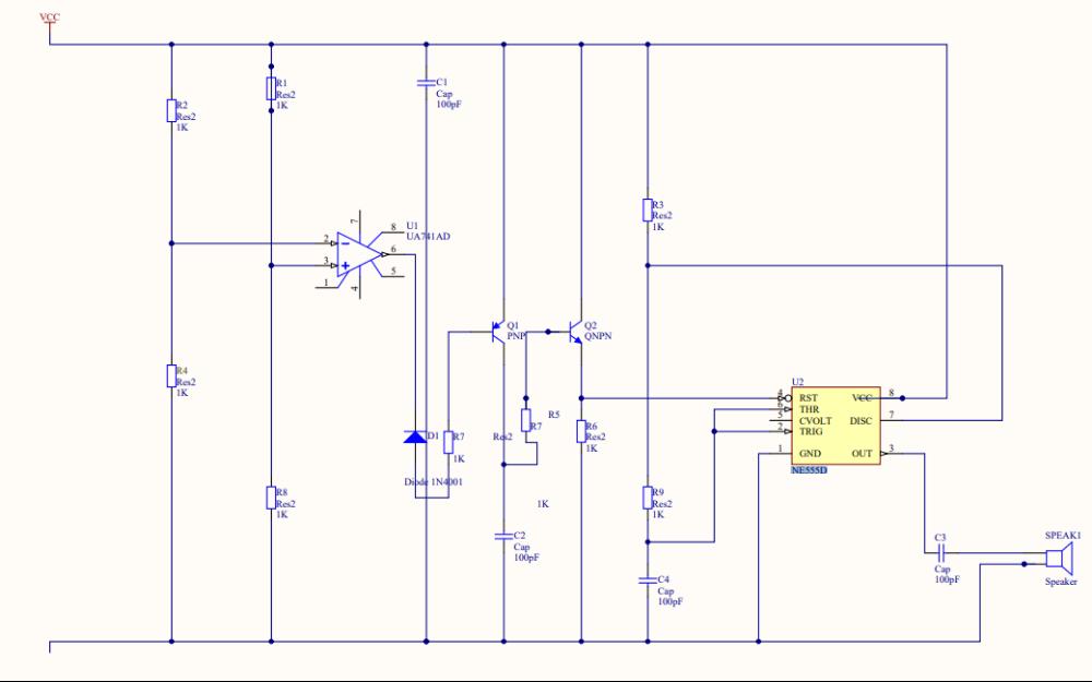 NE555应用的AD仿真电路原理图免费下载