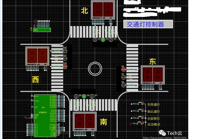 使用51單片機設計的交通燈控制器