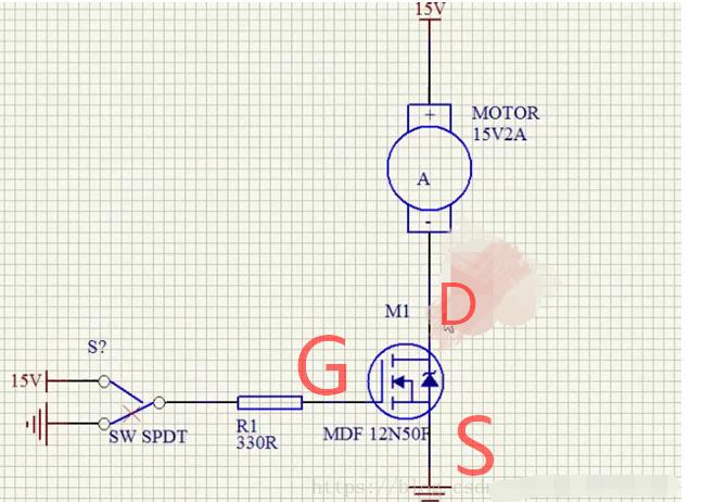 3,通过的电流更大    下面是n型mos管的一个简单的引用电路,当g端