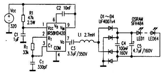 基于IR53HD420驱动LED的驱动电路