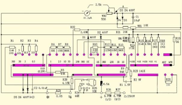MF47万用表的内部测量电路的介绍