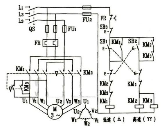 三相鼠笼式电动机变极调速控制电路图