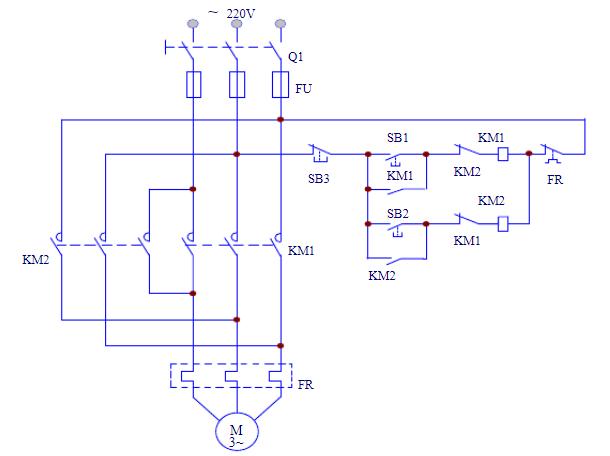 三相鼠笼式电动机变极调速控制电路图图片
